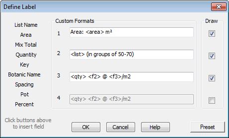 Custom Label Dialog